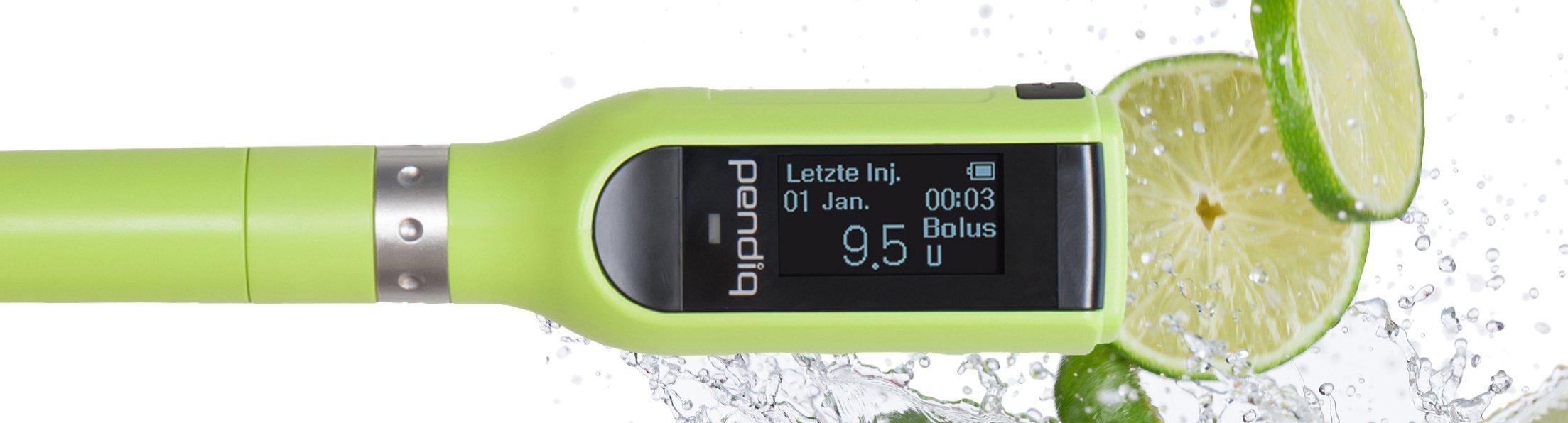 pendiq 2.0 Insulinpen grün mit Limetten dargestellt